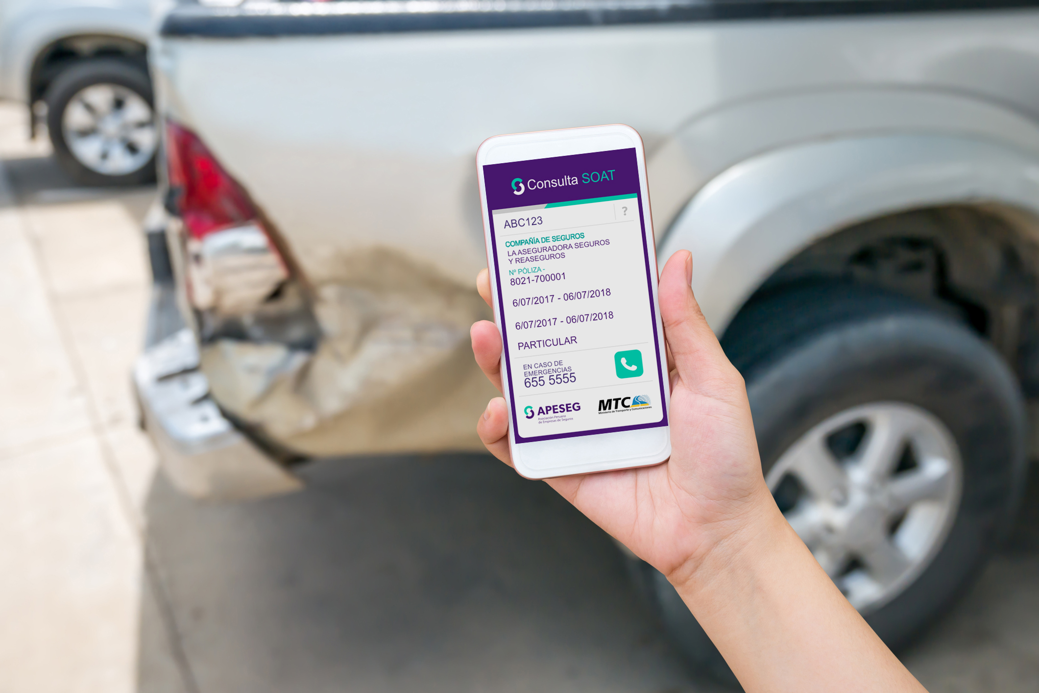 woman using smart phone to take car damage photo caused by car crash accident, car insurance concept