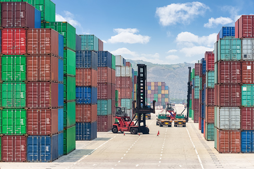 container stack yard of modern logistics background