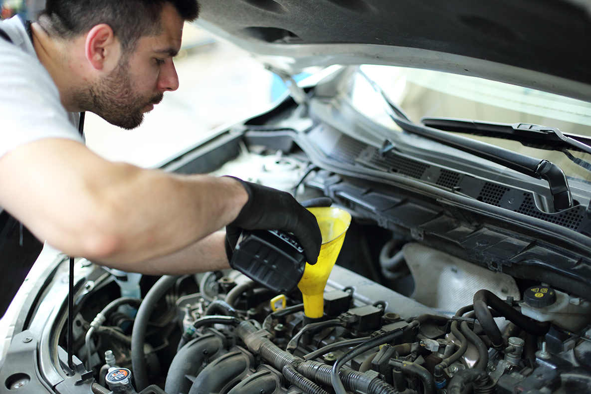 Professional mechanic pours oil into the engine