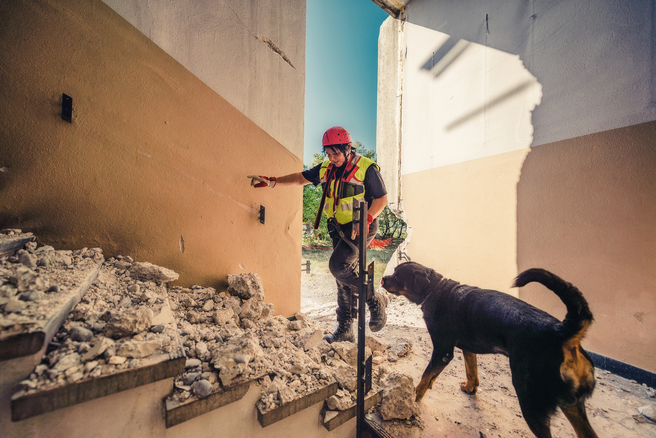 Rescuer search trough ruins of building with help of rescue dog.